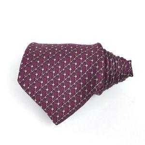 Hermès Short Burgundy/Grey Chain Link Silk Tie